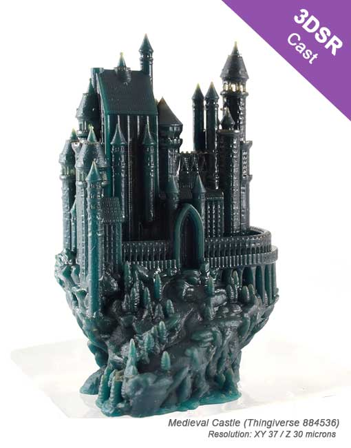 Kudo3D High Resolution 3d printer 3D printed castle with 3DSR Cast resin